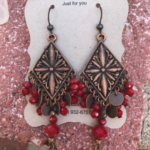 Hand Crafted Bronze & Japanese Crystal Earrings